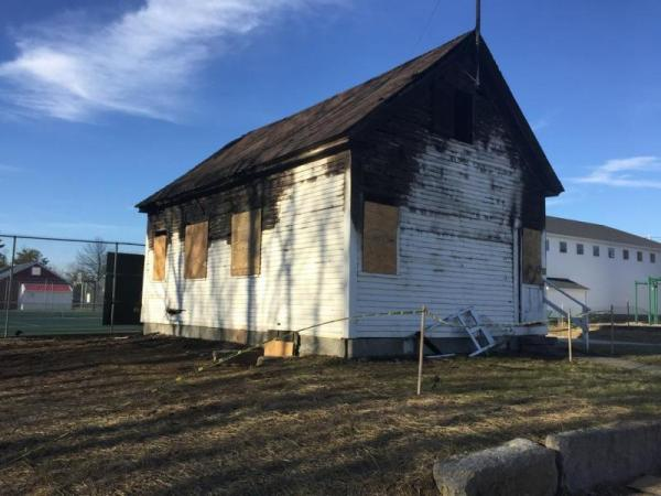 Friends Schoolhouse after April, 2018 fire